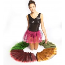 Black Sparkle Skirt with Fluorescent Net