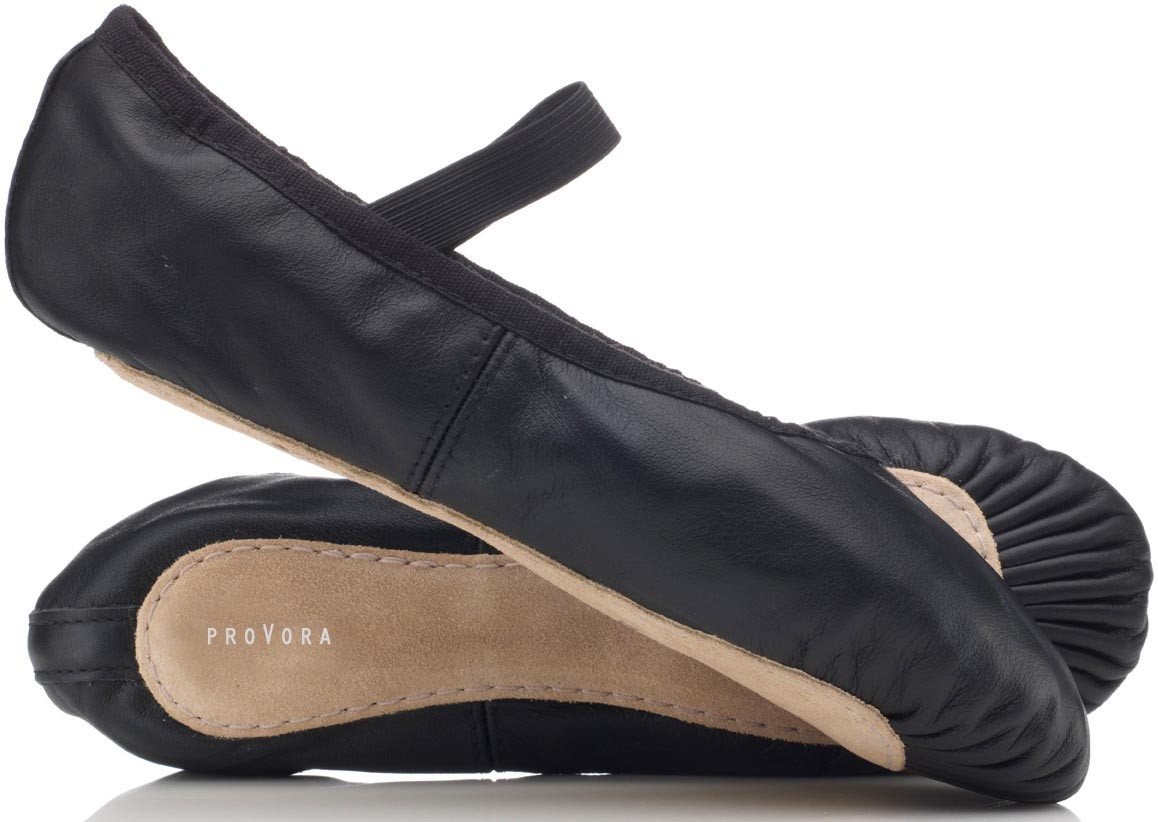 Black Leather Ballet Shoes by provora