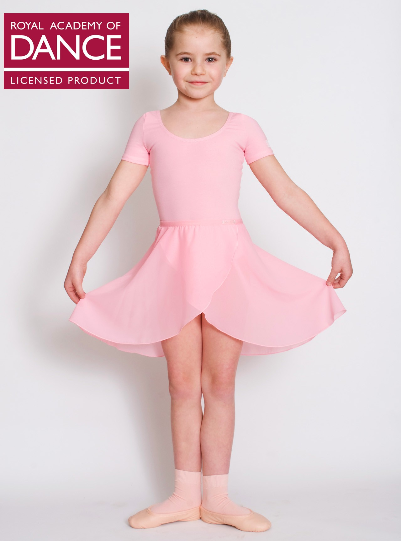 RAD Ballet Skirt with Logo approved by Royal Academy of Dance. Pink Chiffon