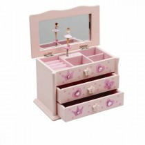 Pink Wooden Music Jewellery Box