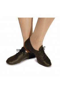 Split sole leather black jazz shoes