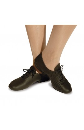 Split sole leather black jazz shoes