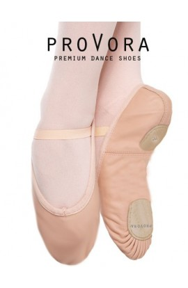 Pink Leather Split Sole Ballet Shoes by proVora