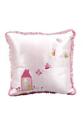 Pink Satin Butterfly Cushion