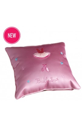 Pink Satin Ballerina Cushion