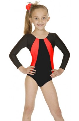 Girls Gym Leotard in Black and Red