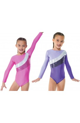 Gym  Leotard in  Lycra Sparkle, Long Sleeved