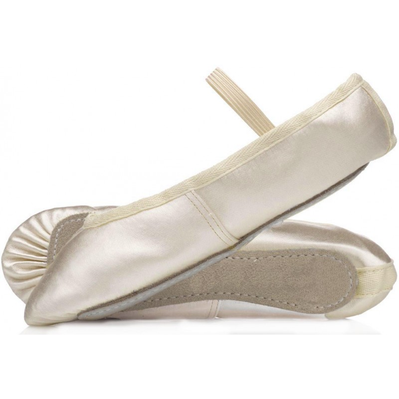 Ivory satin bridesmaid ballet shoes