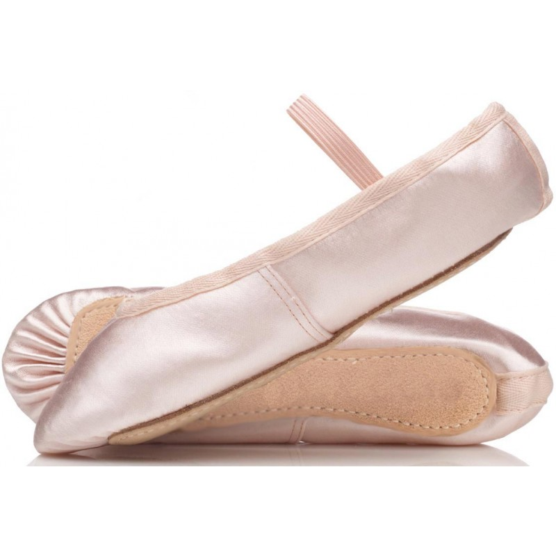 Pink satin ballet shoes, full sole with pre sewn elastic